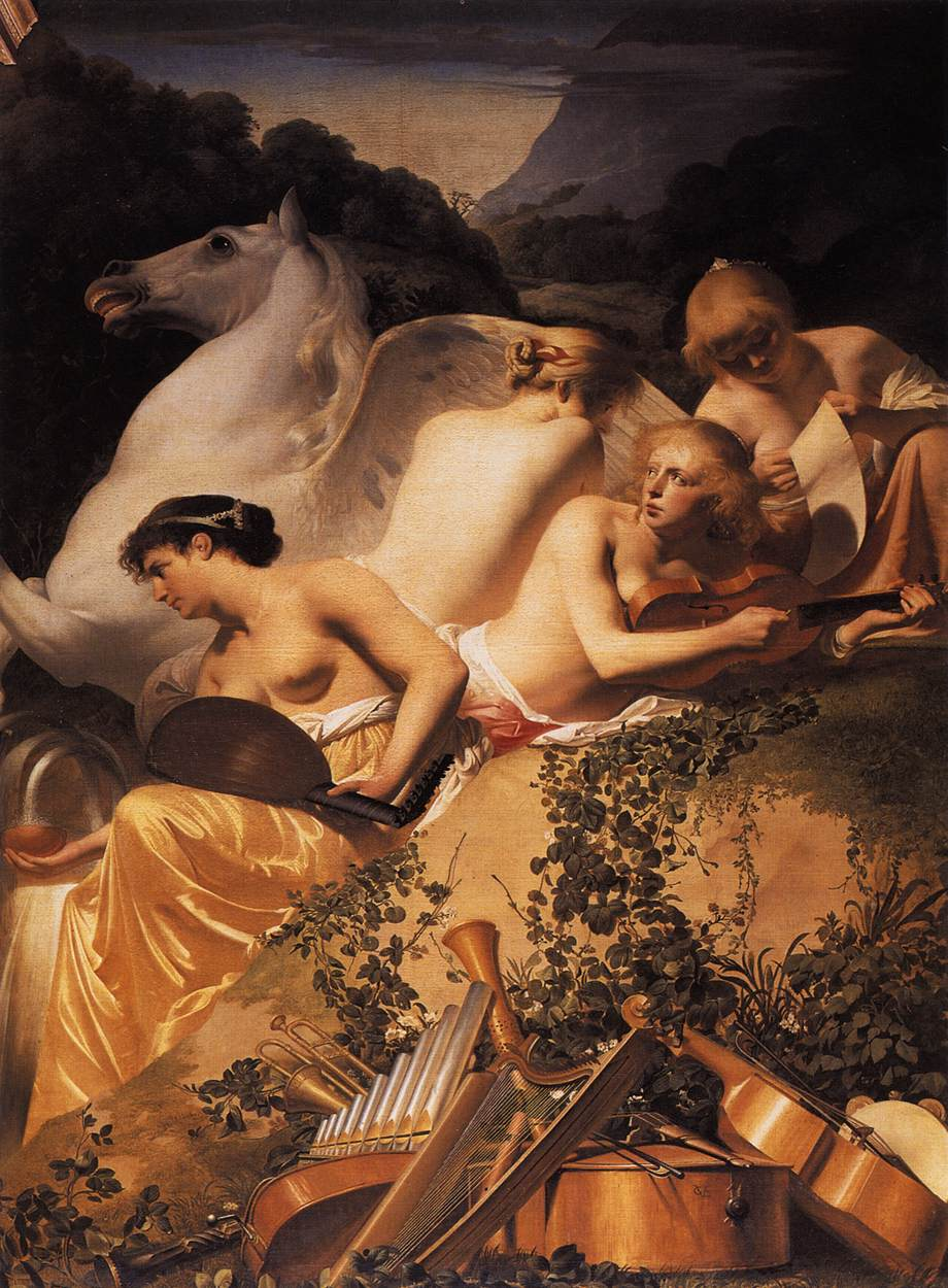 Four Muses and Pegasus on Parnassus